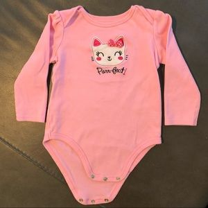 Jumping Beans Long Sleeve Pink Kitty Onesie 18m